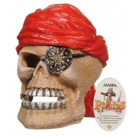 DECORACAO em RESINA Cranio Pirata 7x9x8cm