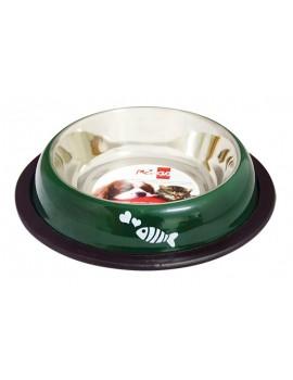 Comedouro Inox em cor verde com estampado